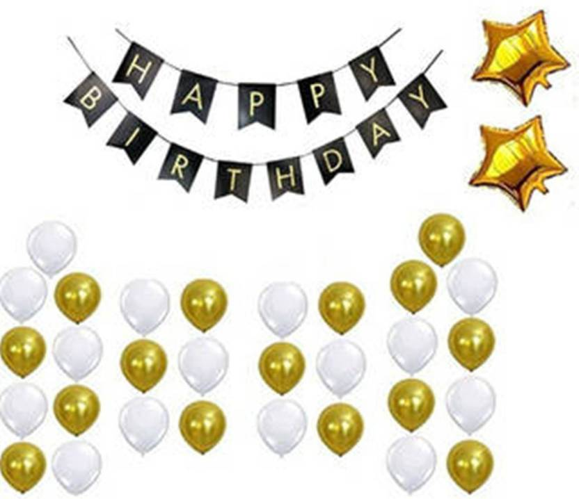 Theme My Party Black Gold White Latex Balloons One Banner Two Star Foil