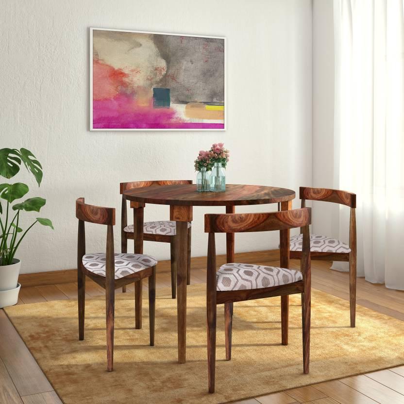 Home Edge Bayne Round Acacia Solid Wood 4 Seater Dining Set