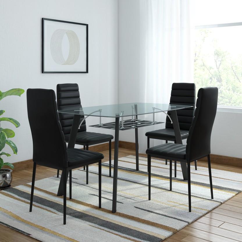 RoyalOak Milan Glass 4 Seater Dining Set