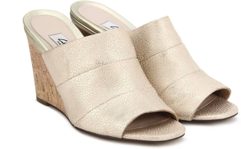 261ba2943073 Clarks Women Champagne Wedges - Buy Champagne Color Clarks Women Champagne  Wedges Online at Best Price - Shop Online for Footwears in India