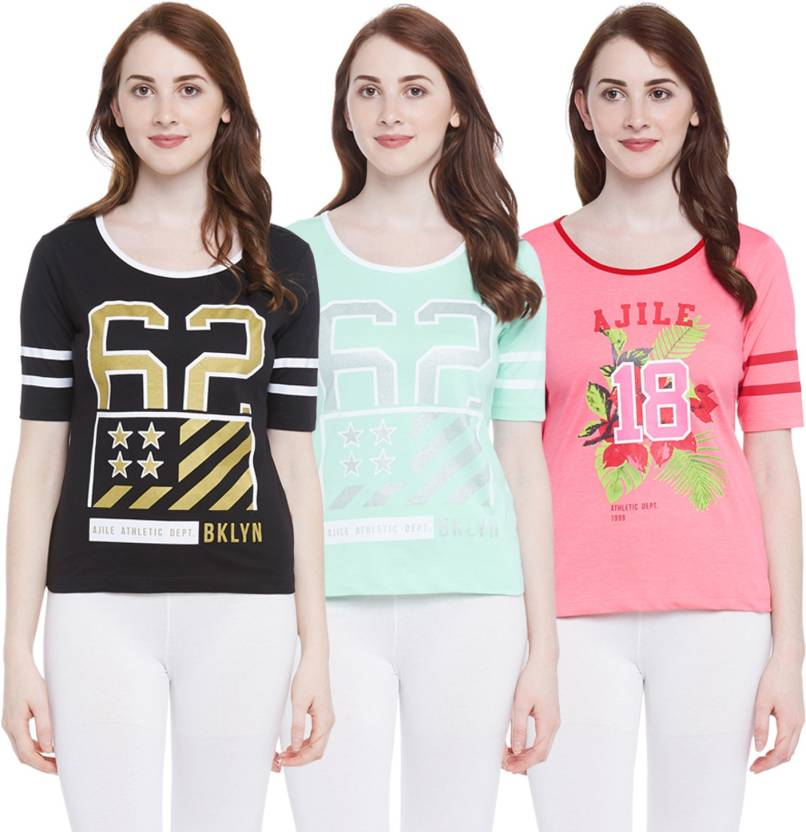 a8f2255f3a2 Ajile by Pantaloons Graphic Print Women s Round Neck Black T-Shirt (Pack of  3)