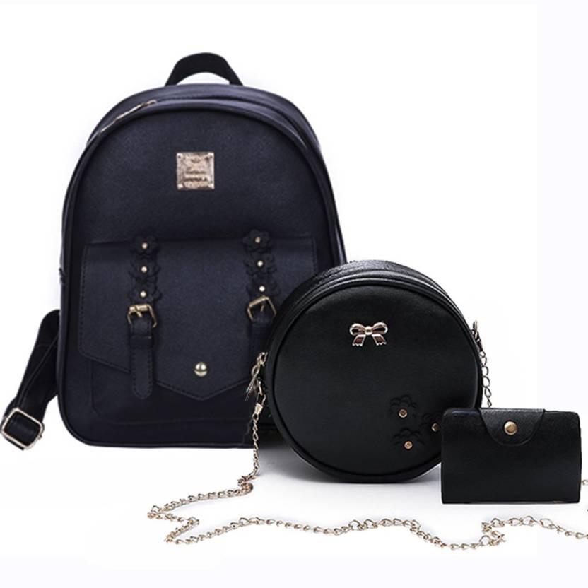 ba84248fd5 Insasta Set Of 3 Pcs Leather Women's Backpacks Rivet Pendant Bear Women  Shoulder Fashion Backpacks for Teenage Girls With Purses-Black Waterproof  Backpack ...
