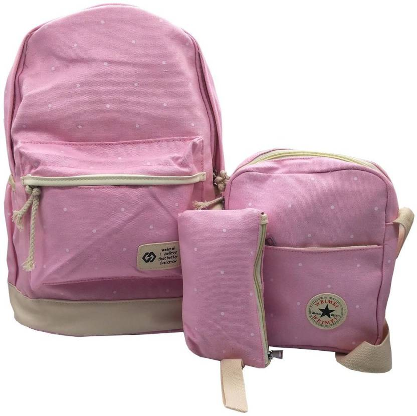 Insasta Set Of 3 Pcs Sports Bag Canvas School Bag Backpack College Women s  Canvas Outdoors Camping Hiking Travel Bags-Pink School Bag (Pink fa88e40d6116e