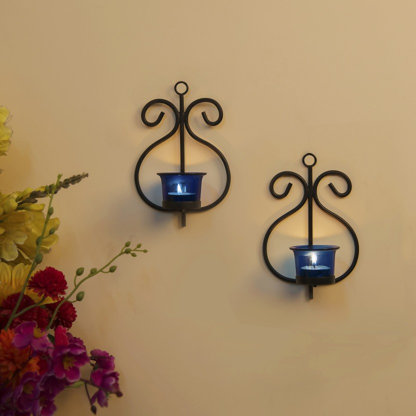 Homesake Set Of 2 Decorative Wall Sconce/Candle Holder With Blue Glass And  Free T