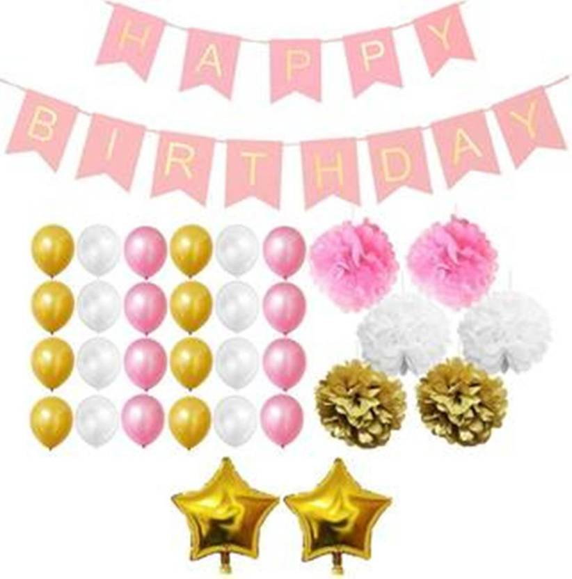 Theme My Party Pink Gold White Birthday Decoration Combo