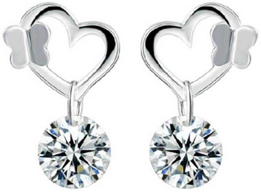 Silver Glowing Heart Sterling Earrings For Kids S And Women Crystal