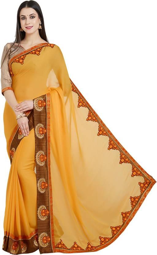ce49c9d21d9b39 Buy Desi Butik Embroidered Fashion Silk Yellow Sarees Online @ Best ...