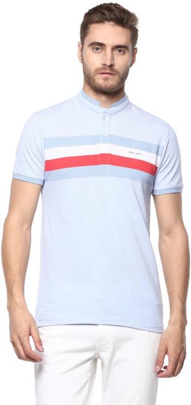 8f941e020 Octave Striped Men's Mandarin Collar Light Blue T-Shirt - Buy Octave Striped  Men's Mandarin Collar Light Blue T-Shirt Online at Best Prices in India ...