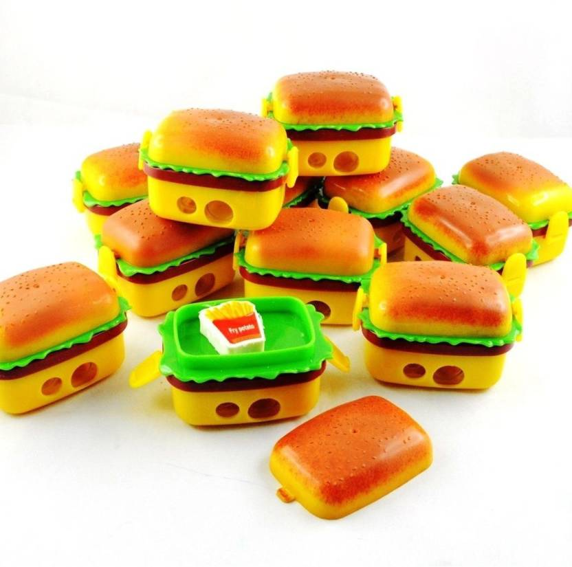 Shararat Cute Burger Style Sharpener Eraser For Birthday Party Return Gift Set In Bulk Pack Of 36 Toy Accessory