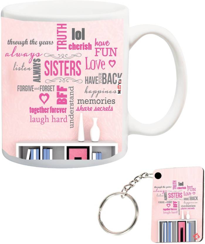 MEYOU Return Gifts For Sister Rakhi Rakshabandhan Birthday Anniversary Printed Mug Keyring IZ18NSMK 083