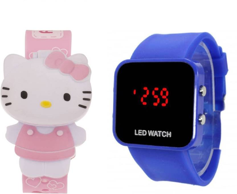 71f4d11d9 COSMIC AMAZING COMBO LIGHT PINK HELLO KITTY DIGITAL WATCH WITH BLUE LED big  screen -35 mm led KIDS DIGITAL BIRTHDAY GIFTS , PRESENTS COLLECTION Watch -  For ...