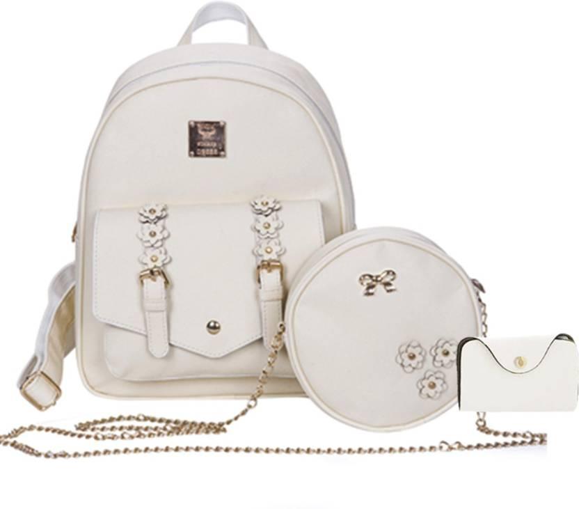 5d184fff38 Insasta Set Of 3 Pcs Leather Women s Backpacks Rivet Pendant Bear Women  Shoulder Fashion Backpacks for Teenage Girls With Purses-White Waterproof  Backpack ...