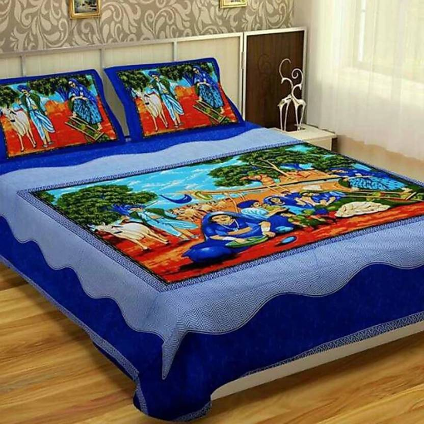 96924d5fad Rajasthani jaipuri Print 151 TC Cotton Double King 3D Printed Bedsheet (Pack  of 1, Blue)