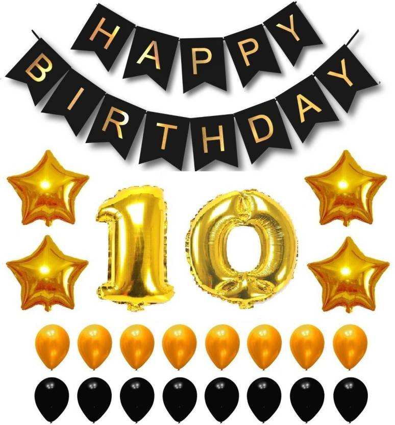 Theme My Party Happy Birthday Balloons Supplies Decorations Set Black Gold 10th Year Price In India