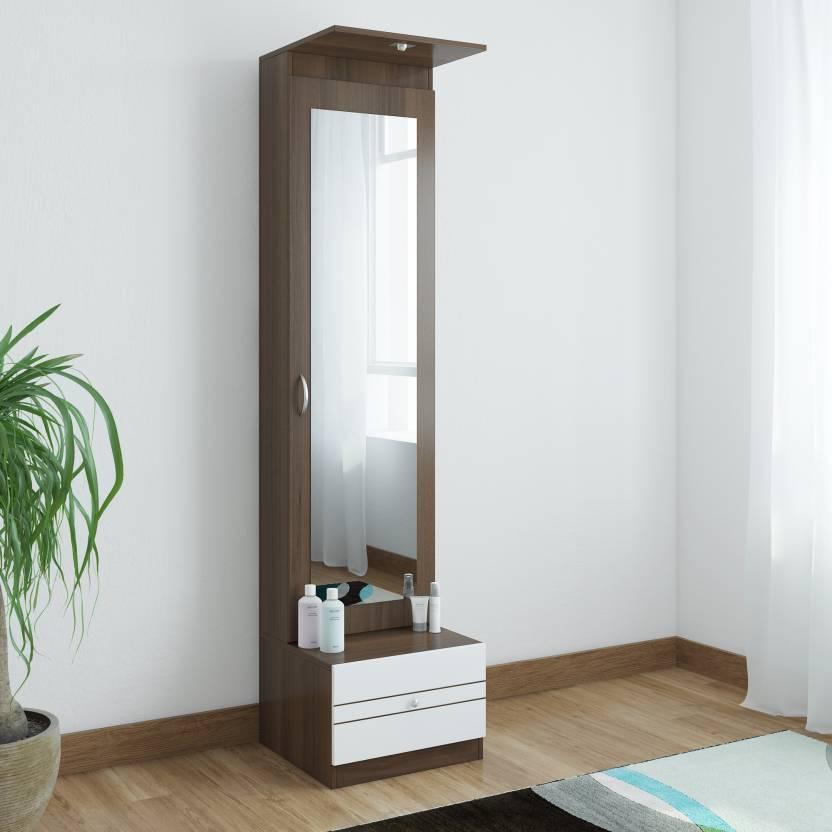 Crystal Furnitech Elfin Engineered Wood Dressing Table Finish Color   Wallnut + White