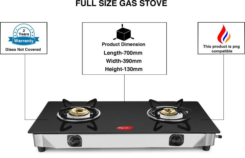 Pigeon Full Size Sterling Blackline 2 Burner Gltop Gas Stove Stainless Steel Steel Gl