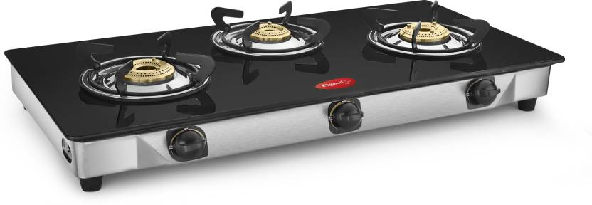 595be545d3a Offer Zone. Pigeon Full Size Sterling Blackline 3 Burner Glass Top Gas  Stove Stainless Steel Steel