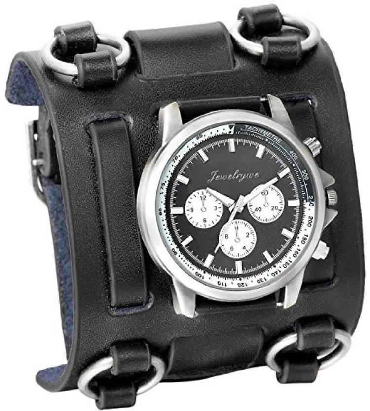80f7f58fe Avaner Black 786 Avaner Mens Retro Steampunk Rock Black Wide Leather  Bracelet Cuff Watches Big Face