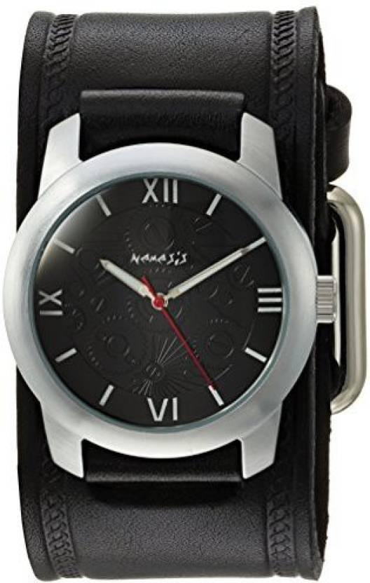b653c5eda Nemesis Black 180 Nemesis Men's HST068K Elite Collection Silver-Tone Watch  with Black Genuine Leather Cuff Bracelet Watch - For Women - Buy Nemesis  Black ...