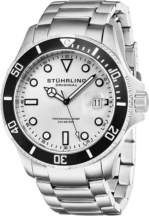 84a18d98f Stuhrling Original Silver 2835 Stuhrling Original Men's 417.01 Aquadiver  Regatta Espora Professional Diver Watch Watch - For Men - Buy Stuhrling  Original ...