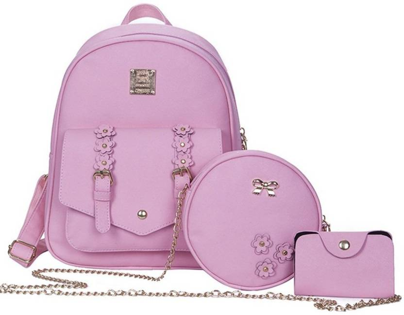 12d1309183 Insasta Set Of 3 Pcs Leather Women s Backpacks Rivet Pendant Bear Women  Shoulder Fashion Backpacks for Teenage Girls With Purses-Pink Waterproof  Backpack ...