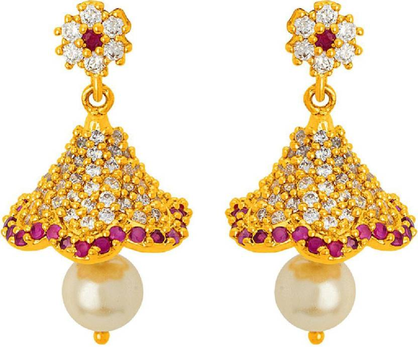 3efc53e18 Flipkart.com - Buy Voylla Designer CZ Studded Jhumka Earrings Pearl Brass  Jhumki Earring Online at Best Prices in India