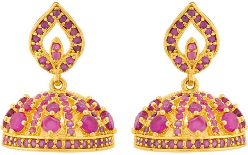 f001f6c9e Voylla Generic CZ Ruby Stone Jhumka Earrings Cubic Zirconia Brass Jhumki  Earring