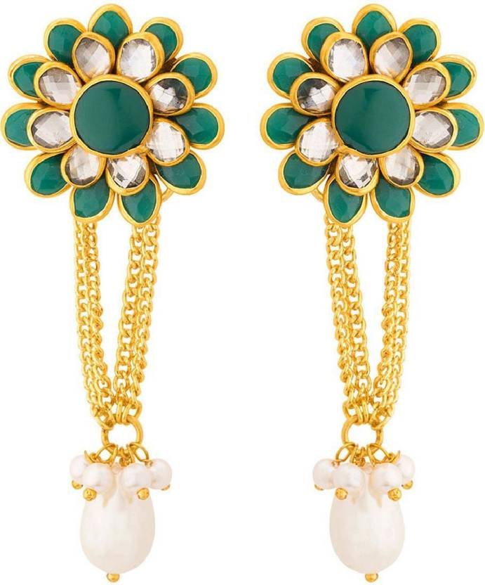 09c6e6cb49ecf Flipkart.com - Buy Voylla Stunning Gold Plated Floral Drop Earrings ...