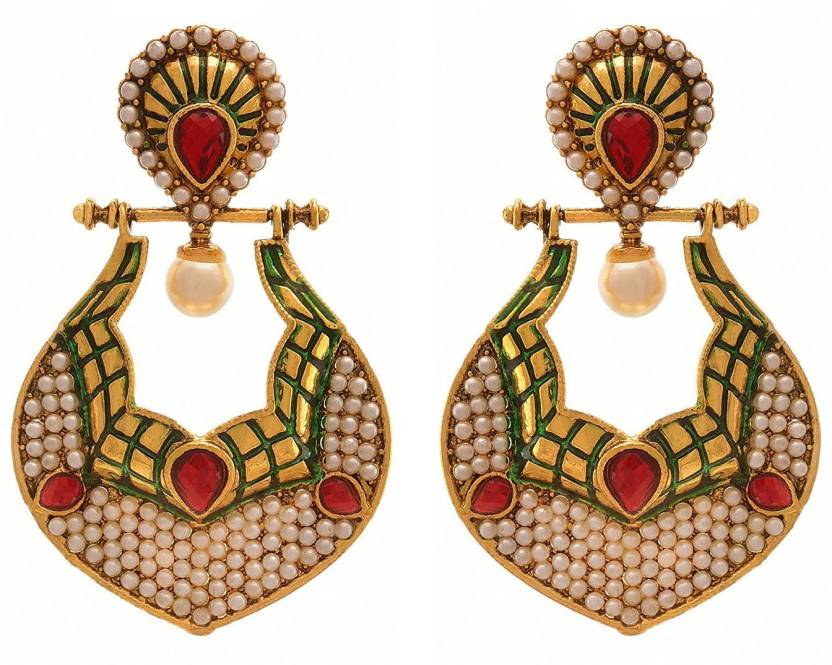 Flipkart Jfl Jewellery For Less Traditional Ethnic One Gram Gold Plated Stone Pearl Designer Earring Women S