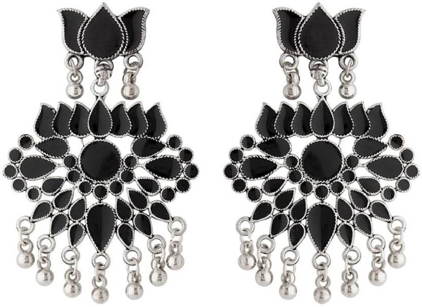 da921d0cb8a Flipkart.com - Buy Voylla Varna Lotus Earrings with Black Enamel Zinc  Dangle Earring Online at Best Prices in India