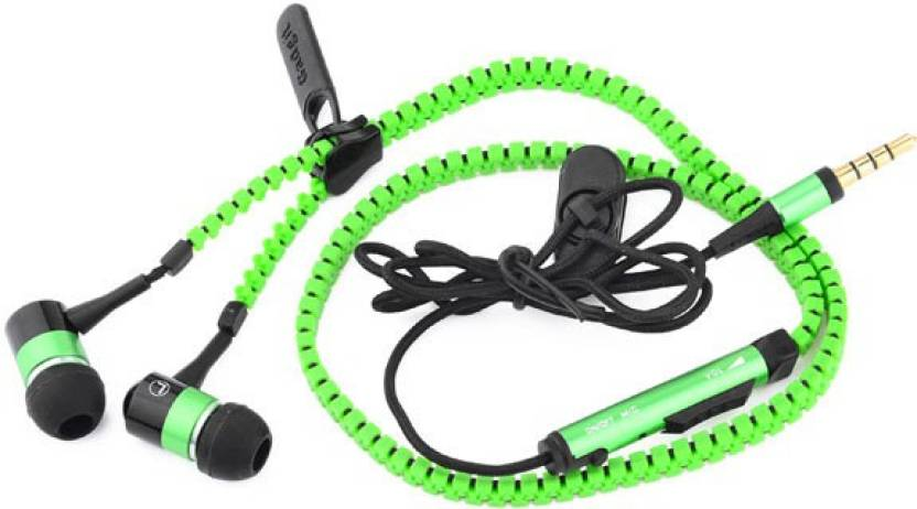 MOBILE FIT Zipper Earphone for iPhone, Metal Earbuds, Color Cable, Various Colors, Logo Imprint Welcomed Bluetooth Headset with Mic (Green, In the Ear)