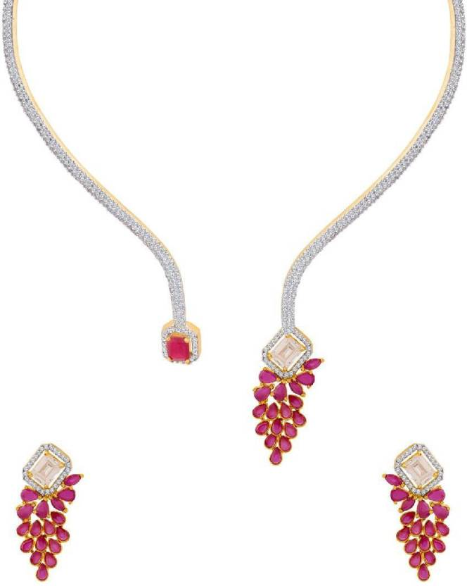 85c2ab567 Voylla Glorious Gold CZ Twisted Chronicles Collar Necklace Set Pearl  Gold-plated