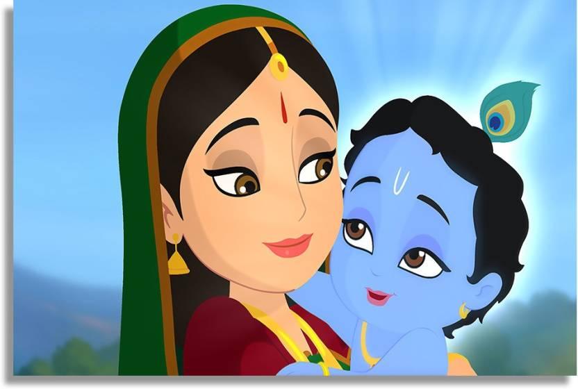 Little Balgopal Lord Krishna With Maa Yashoda Paper Print