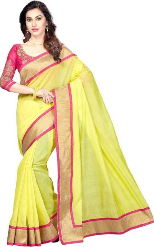 0436aef92534e Buy Avsar Prints Plain Chanderi Cotton Yellow Sarees Online   Best ...