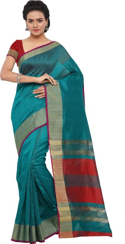 a13667fe6b Buy PAGAZO Striped Banarasi Banarasi Silk Green Sarees Online @ Best ...