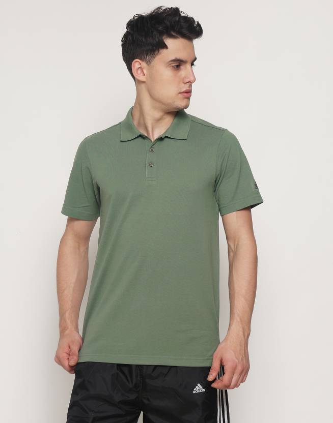 0914a21b ADIDAS Solid Men's Polo Neck Dark Green T-Shirt - Buy ADIDAS Solid Men's  Polo Neck Dark Green T-Shirt Online at Best Prices in India | Flipkart.com