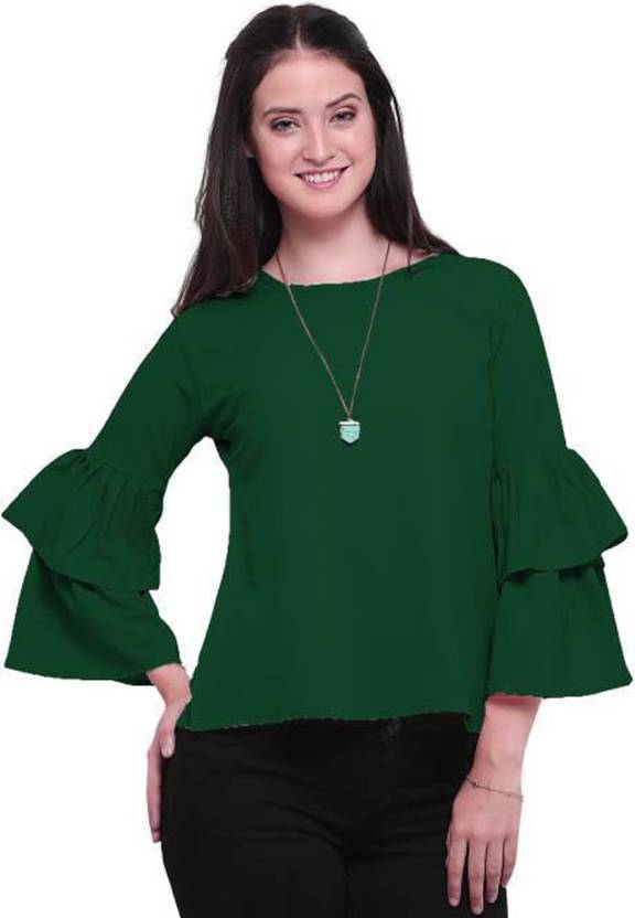 530477f55f22a VAANYA Casual Bell Sleeve Solid Women s Dark Green Top - Buy VAANYA Casual  Bell Sleeve Solid Women s Dark Green Top Online at Best Prices in India ...