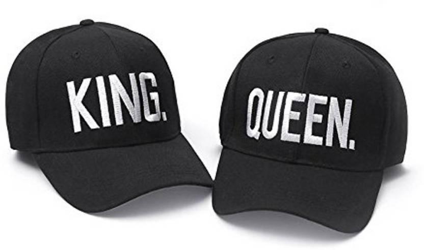 DALUCI King Queen Baseball Caps Adjustable Couple Hip Hop Cap For Men Women  Cap (Pack of 2) 8a72ee3d5365