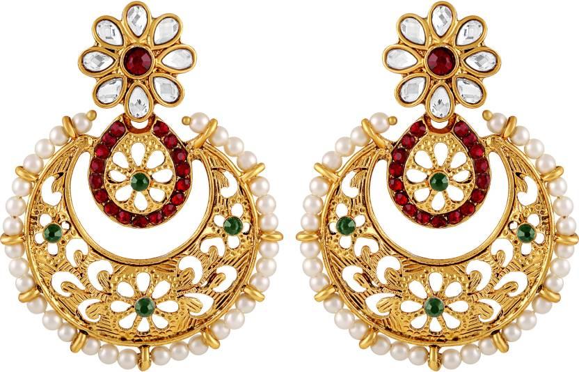 Asmitta Jewellery Intricately Filigiree Design Gold Plated Multi Color Earrings For Women Zinc Dangle Earring