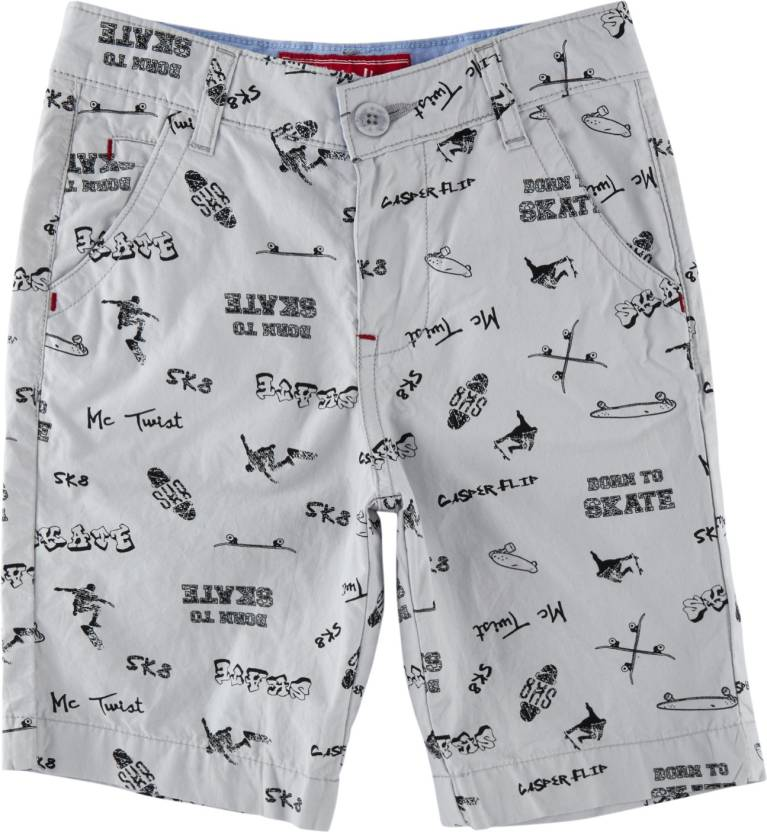 145c12e05a Chalk by Pantaloons Short For Boys Casual Printed Polyester Cotton Blend  (Grey, Pack of 1)