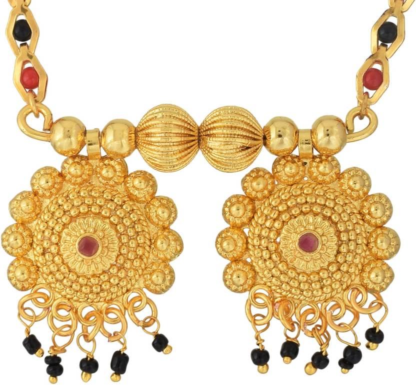 b0b95ea576c Memoir Gold plated Brass, Rich and festive, Handmade filigree, Naivedya  design Traditional Mangalsutra