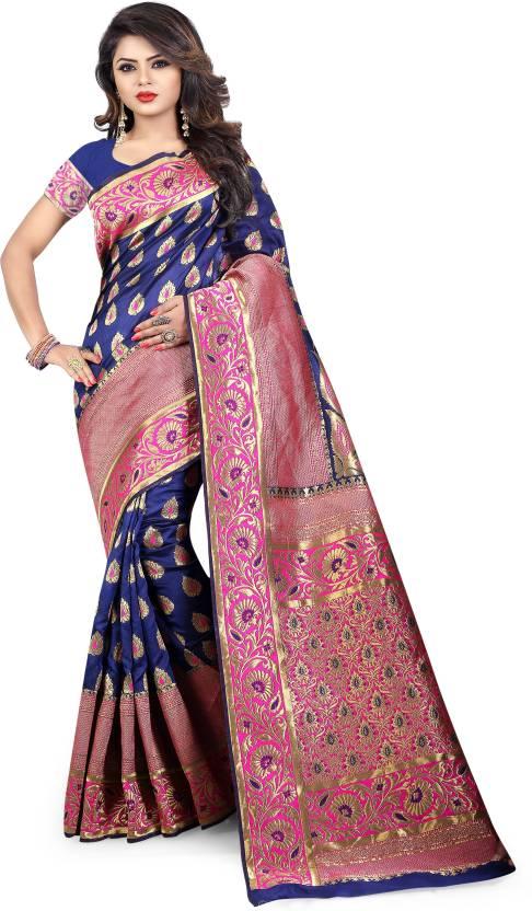 4ace4f67ee56e5 Jay Fashion Woven Banarasi Banarasi Silk Saree (Dark Blue, Pink, Gold)