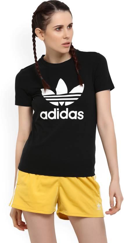 super popular 0e363 9e15e ADIDAS ORIGINALS Printed Women s Round Neck Black T-Shirt - Buy Black ADIDAS  ORIGINALS Printed Women s Round Neck Black T-Shirt Online at Best Prices in  ...
