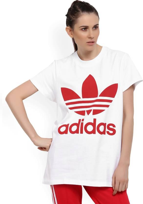 51ceefdcce5 ADIDAS ORIGINALS Printed Women Round Neck White, Red T-Shirt - Buy White ADIDAS  ORIGINALS Printed Women Round Neck White, Red T-Shirt Online at Best Prices  ...