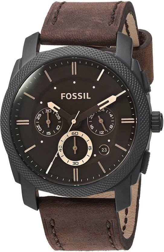 af419a67ad Fossil Black24720 Fossil Mens FS5251SET Machine Chronograph Dark Brown  Leather Watch and Bracelet Box Set Watch - For Men - Buy Fossil Black24720  Fossil ...