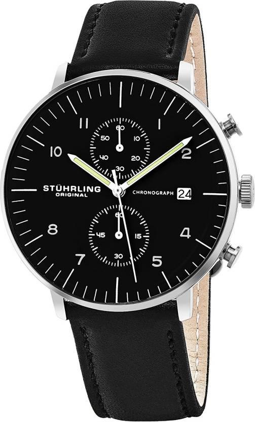 a501680e7 Stuhrling Original black20697 Stuhrling Original Men's 'Monaco' Quartz  Chronograph Date Stainless Steel and Leather