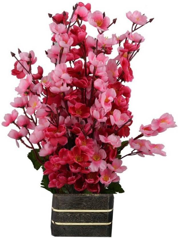 764d8c290caa3 kaykon Artificial Flower Pot Orchid Peach Blossom Flower Pot - 17inch 42cm  Red