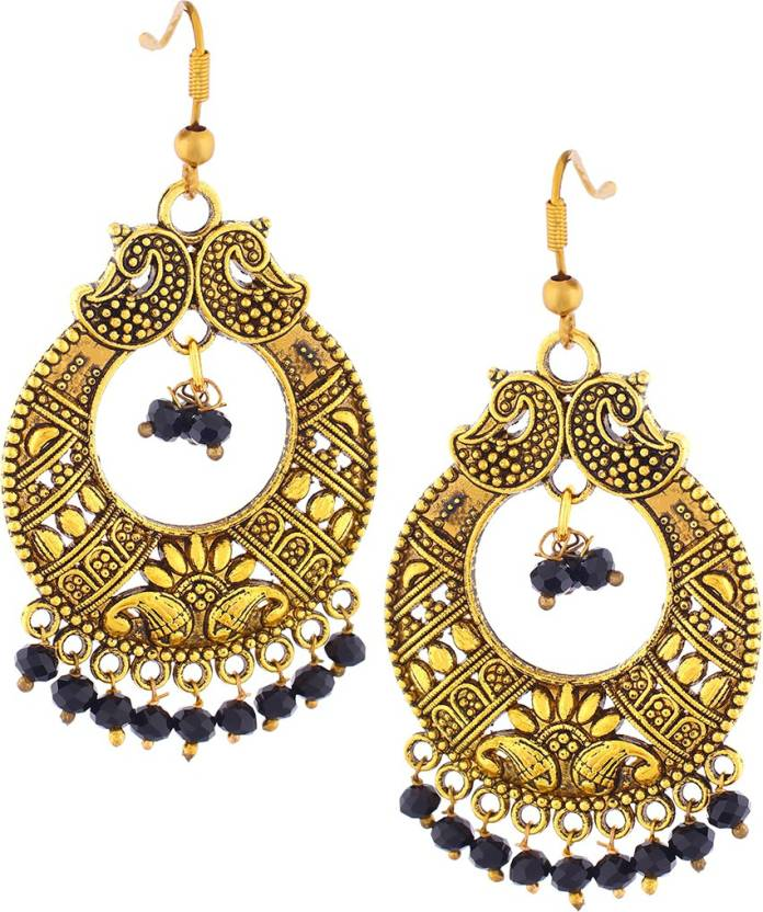 5c6e44ce3 Flipkart.com - Buy VAMA FASHIONS Antique Oxidised Gold Chandbali in Jet  Black Crystals & Pastel Colors Beads Metal Chandbali Earring Online at Best  Prices ...