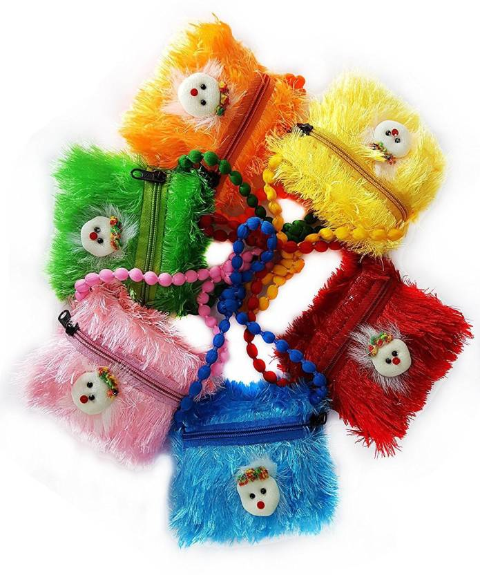 fully pocket money purse small hand bag for kids fur finish kids backpack school bag