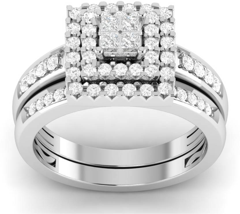5ddb8151e VIJISAN Designer Collection Engagement Wedding Ring Set Sterling Silver  Cubic Zirconia 14K White Gold Plated Ring Price in India - Buy VIJISAN  Designer ...